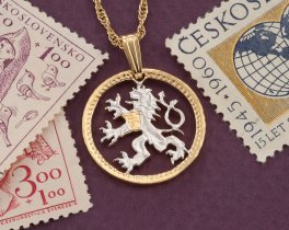 "Czechoslovakian Lion Pendant and Necklace Jewelry, Czechoslovakia Coin Hand Cut,14 Karat Gold and Rhodium Plated, 7/8"" in Diameter, ( # 78 )"