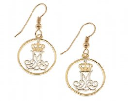 "Danish Coin Earrings, Denmark 10 Ore Royal Crown Coin hand Cut, 14 Karat Gold and Rhodium plated, 5/8"" in Diameter, ( # 83E )"
