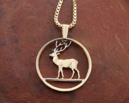 "Deer Pendant and Necklace Jewelry, Hand Cut coin from the island of Mauritius, Plated 14 Karat Gold and Rhodium, 7/8"" in Diameter, ( # 230 )"