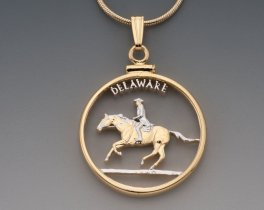 "Delaware State Quarter Pendant, Hand Cut United States Delaware State Quarter, 14 Karat Gold and Rhodium Plated, 1"" in Diameter ( # 2003 )"