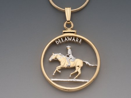 "Delaware State Quarter Pendant, Hand Cut United States Delaware State Quarter, 14 Karat Gold and Rhodium Plated, 1"" in Diameter ( # 2003 )"