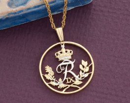 "Denmark Jewelry Pendant and Necklace. Denmark 25 Ore Coin Hand Cut, 14 Karat Gold and Rhodium Plated, 7/8 "" in Diameter, ( # 84 )"