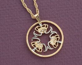 "Denmark Jewelry Pendant and Necklace, Denmark Five Kroner Coin hand Cut, 14 Karat Gold and Rhodium plated, 1"" in Diameter, ( # 765 )"