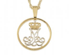 "Denmark Jewelry Pendant and Necklace, Denmark Five Ore coin Hand Cut, 14 Karat Gold and Rhodium Plated, 5/8"" in Diameter, ( # 83 )"