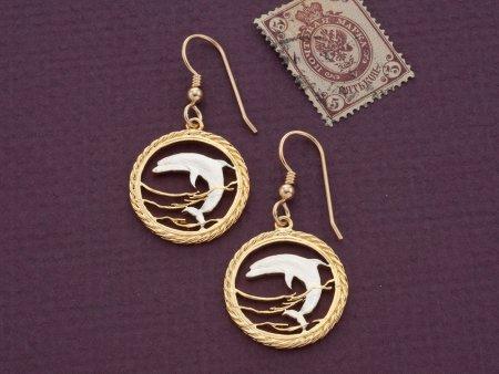 Dolphin Earrings, Dolphin Jewelry, Sea Life Earrings, Sea Life Jewelry, Jewelry For Woman, Earrings For Woman, World Coin Jewelry, (# 893E )