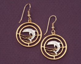 Dolphin Earrings, Dolphin Jewelry, Sealife Earrings, Sealife Jewelry, Coin Jewelry, Jewelry For Woman, Earrings For Woman, ( # 505E )