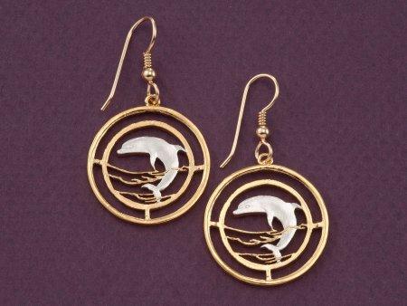 Dolphin Earrings, Dolphin Jewelry, Sealife Earrings, Sealife Jewelry, Coin Jewelry, Jewelry For Woman, Earrings For Woman, ( # 505E )