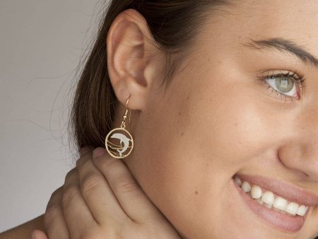 """Dolphin Earrings, Russia 50 Ruble Dolphin Coin Hand Cut, 14 Karat Gold and Rhodium plated, 14 K G/F Wires, 3/4"""" in Diameter, ( # 505BE )"""