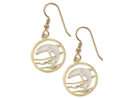 "Dolphin Earrings, Russia 50 Ruble Dolphin Coin Hand Cut, 14 Karat Gold and Rhodium plated, 14 K G/F Wires, 3/4"" in Diameter, ( # 505BE )"