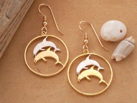 Dolphin Earrings. Sea Life Earrings, Dolphin Jewelry, Iceland Coin Jewelry, Iceland Earrings, Sealife Jewelry, Ethnic Jewelry, ( # 176E )
