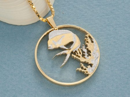 "Dolphin Fish Pendant, Sea Life Pendant , Sea Life Jewelry, Dolphin Necklace, 1 1/8"" in Diameter, ( # 942 )"