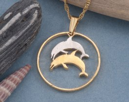 Dolphin Necklace, Dolphin pendant, Dolphin Jewelry, Iceland Coin Jewelry, Sealife Jewelry, Coin Jewelry, Coin Necklace, ( # 176 )