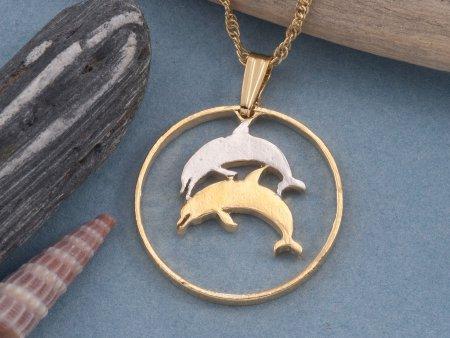 Dolphin Necklace, Dolphin pendant, Dolphin Jewelry, Iceland Coin Jewelry, Sealife Jewelry, Coin Jewelry, Coin Necklace, ( # 176 )