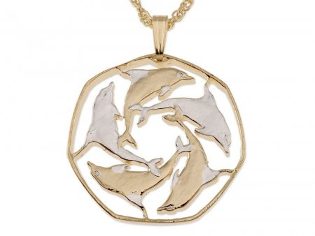 "Dolphin Pendant and Necklace Jewelry, Gibraltar Dolphin Coin Hand Cut, 14 Karat Gold and Rhodium Plated, 1 1/8 "" in Diameter, ( # 124 )"