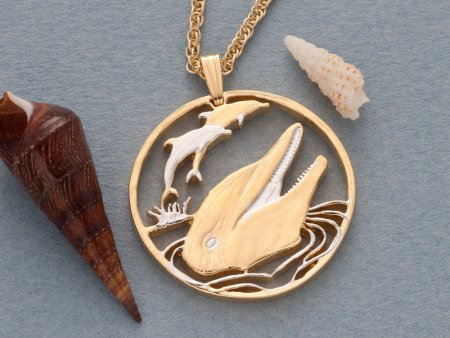 """Dolphin Pendant and Necklace Jewelry, Gibralter Dolphin Coin Hand Cut, 14 Karat Gold and Rhodium Plated, 1 1/8 """" in Diameter, ( # 548 )"""