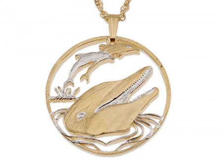 "Dolphin Pendant and Necklace Jewelry, Gibralter Dolphin Coin Hand Cut, 14 Karat Gold and Rhodium Plated, 1 1/8 "" in Diameter, ( # 548 )"