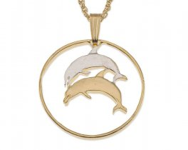 """Dolphin Pendant and Necklace Jewelry, Iceland Dolphin Coin Hand Cut, 14 Karat Gold and Rhodium Plated, 7/8 """" in Diameter ( # 176 )"""