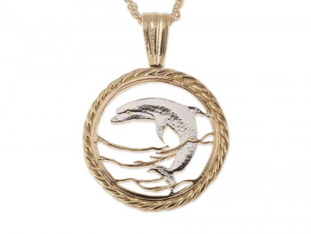 """Dolphin Pendant and Necklace Jewelry, Russia Dolphin Coin Hand Cut, 14 Karat Gold and Rhodium Plated ,7/8"""" in Diameter, ( # 893 )"""