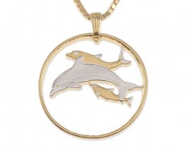 """Dolphin Pendant and Necklace, Kiribati 20 Cents Dolphin coin Hand Cut, 14 K Gold and Rhodium plated, 1"""" in Diameter, ( # 387 )"""