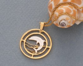 "Dolphin Pendant and Necklace, Russian 50 Ruble Dolphin Coin Hand Cut, 14 Karat Gold and Rhodium plated, 1"" in Diameter, ( # 505 )"