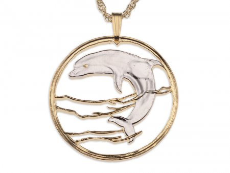 """Dolphin Pendant and Necklace, Russian One Ruble Dolphin Coin hand Cut, 14 Karat Gold and Rhodium plated, 1 1/4"""" in Diameter, ( # 495 )"""