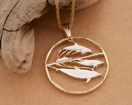 """Dolphin Pendant, Dolphin Jewelry, Hand cut Dolphin Coin Jewelry, Sea Life Jewelry, Sea Life Pendant ,1 1/4"""" in diameter, ( # 437D )"""