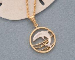 Dolphin Pendant, Dolphin Jewelry, Sea Life Earrings, Sea life Jewelry, Coin Jewelry, Jewelry For Woman, Pendant Necklace, ( # 505B )
