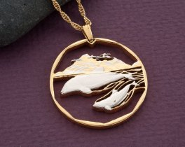 "Dolphin Pendant, Hand cut Dolphin coin jewelry, Dolphin Necklace, Sea Life Jewelry, Sea Life Gifts, 1 1/4"" in diameter, ( # 442D )"