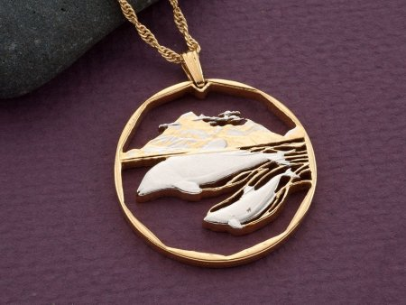 """Dolphin Pendant, Hand cut Dolphin coin jewelry, Dolphin Necklace, Sea Life Jewelry, Sea Life Gifts, 1 1/4"""" in diameter, ( # 442D )"""