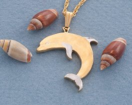 "Dolphin pendant, hand cut Dolphin Coin, Sea Life Jewelry, Dolphin Jewelry, 1"" diameter, ( # 495B )"