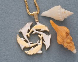 Dolphin Pendant & Necklace, Gibralter Coin Hand Cut, ( # 123 )