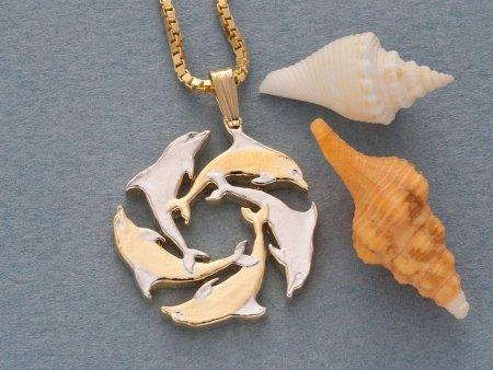 Dolphin Pendant & Necklace, Gibralter Coin Hand Cut, ( # 123 )