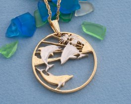 "Dolphins Pendant and Necklace, Maui Dolphins Trade Dollar Hand Cut, 14 Karat Gold and Rhodium Plated, 1 1/2"" in Diameter, ( # 850 )"