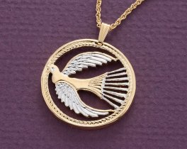 "Dove of Peace Pendant and Necklace Jewelry, Peace Dove medallion hand Cut, 14 Karat Gold and Rhodium Plated, 1 1/8 "" in Diameter, ( # 760 )"