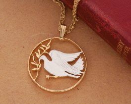 "Dove of Peace Pendant and Necklace, Vatican 100 Lira Coin Hand Cut, 14 Karat Gold and Rhodium Plated, 1"" Diameter, ( # 303 )"