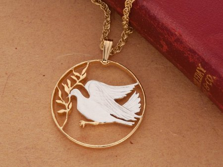 """Dove of Peace Pendant and Necklace, Vatican 100 Lira Coin Hand Cut, 14 Karat Gold and Rhodium Plated, 1"""" Diameter, ( # 303 )"""