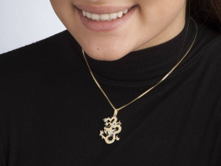 """Dragon penadnt and Necklace Jewelry, Sierra Leon Dragon Coin hand Cut, 14 Karat Gold and Rhodium Plated, 1 1/8 """" in length, ( # 706B )"""