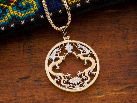 """Dragon Pendant and Necklace Jewelry, Bhutan Dragon Coin Hand Cut, 14 Karat Gold and Rhodium plated, 1"""" in Diameter ( # 568 )"""