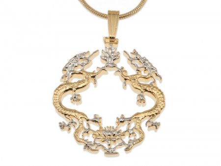 """Dragon Pendant and Necklace Jewelry, Bhutan Dragon Coin Hand Cut, 14 Karat Gold and Rhodium Plated, 7/8"""" in Diameter, ( # 568B )"""