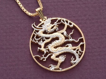 """Dragon Pendant and Necklace Jewelry, Chinese Dragon Coin Hand Cut, 14 Karat Gold and Rhodium Plated, 1 1/8 """" in Diameter, ( # 460 )"""