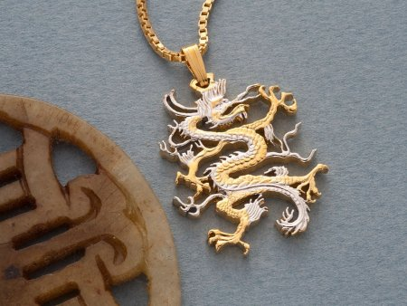 """Dragon Pendant and Necklace Jewelry, Chinese Dragon Coin hand Cut, 14 Karat Gold and Rhodium Plated , 1 1/8"""" in Diameter, ( # 497 )"""