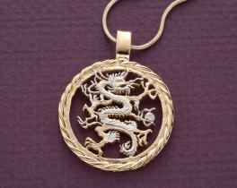 "DRagon pendant and Necklace Jewelry, Liberia 5 Dollar Dragon Coin hand Cut, 14 K and Rhodium Plated, 1 1/8 "" in Diameter, ( # 717 )"