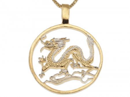 "Dragon Pendant and Necklace Jewelry, Private Mint Medallion Dragon Hand Cut, 14K and Rhodium Plated,1 3/8 "" in Diameter, ( # 486 )"