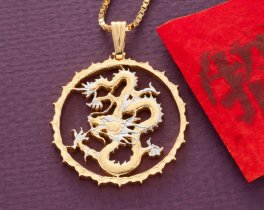 "DRagon Pendant and Necklace Jewelry, Sierra Leon Dragon Coin Hand Cut , 14 Karat Gold and Rhodium Plated, 1 1/4 "" In Diameter, ( # 706 )"