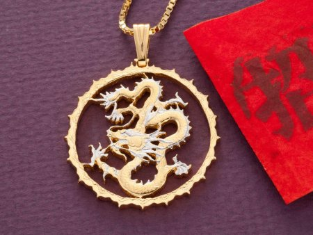 """DRagon Pendant and Necklace Jewelry, Sierra Leon Dragon Coin Hand Cut , 14 Karat Gold and Rhodium Plated, 1 1/4 """" In Diameter, ( # 706 )"""