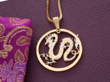 "Dragon Pendant and Necklace Jewelry, Somalia Dragon Coin hand Cut, 14 Karat Gold and Rhodium plated, 1 /4 "" in Diameter, ( # 708 )"
