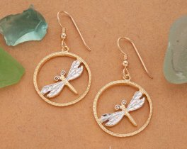 "Dragonfly Earrings, Hand Cut Dragonfly Medallion,14 Karat Gold and Rhodium plated,14 K Gold Filled Ear Wires, 7/8"" in Diameter, ( # 890BE )"