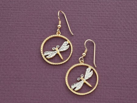 """Dragonfly Earrings, Hand Cut Dragonfly Medallion,14 Karat Gold and Rhodium plated,14 K Gold Filled Ear Wires, 7/8"""" in Diameter, ( # 890BE )"""