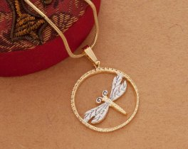 "Dragonfly Pendant and Necklace, Dragonfly Medallion Hand Cut, 14 Karat Gold and Rhodium Plated, 7/8"" in Diameter, ( # 890B )"