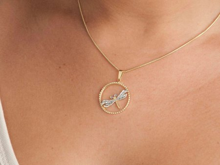 """Dragonfly Pendant and Necklace, Dragonfly Medallion Hand Cut, 14 Karat Gold and Rhodium Plated, 7/8"""" in Diameter, ( # 890B )"""